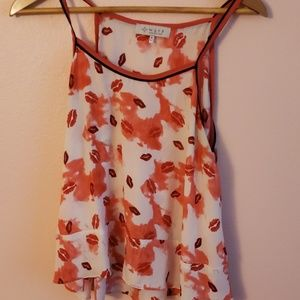 WAYF top for summer, lips kisses tank top high low